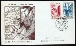 Premier Jour avec tableau d'enfant apprenant à lire 2 timbres cachet fait à  Casablanca