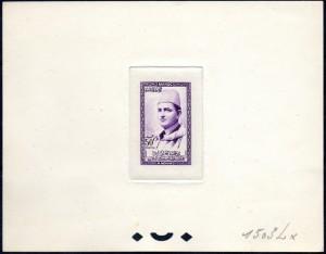 Epreuve d'artiste 50F violet - image retouchée - tâches présentes sur l'épreuve