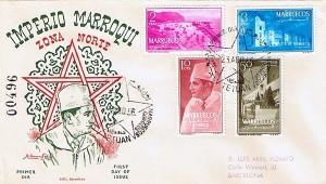 1er Jour avec effigie du roi monochrome numéro de contrôle et 4 timbres de la série