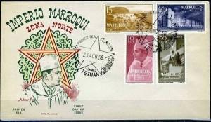1er Jour avec effigie du roi bicolor sans numéro de contrôle et 4 timbres de la série