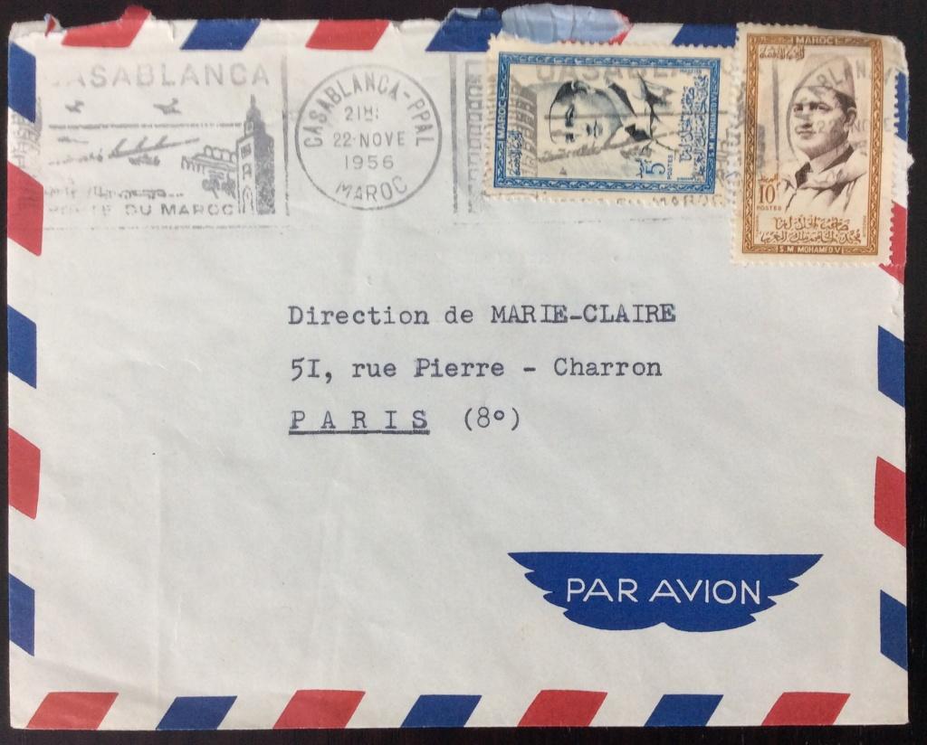 Lettre de 1956 depuis Casablanca pour la France avec affranchissement composé (5F+10F). Oblitération Mécanique SECAP
