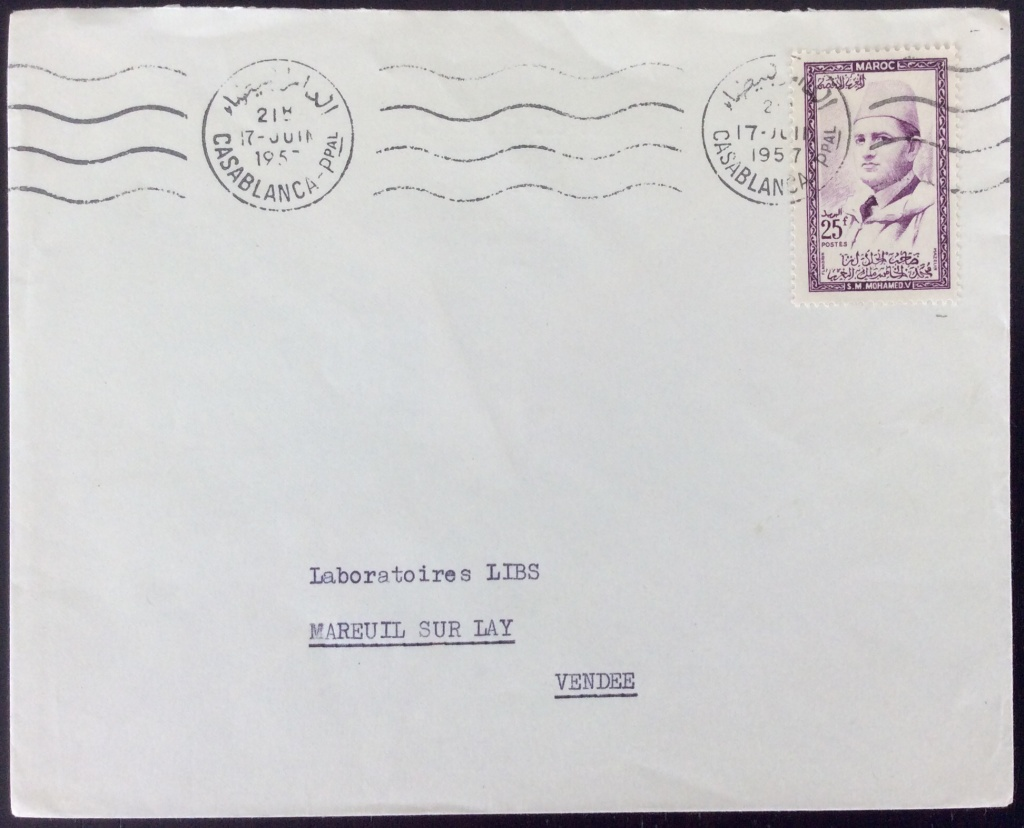 Lettre de 1957 depuis Casablanca pour la France avec 25F seul sur lettre. Oblitération Mécanique SECAP sans fin, date en lettres