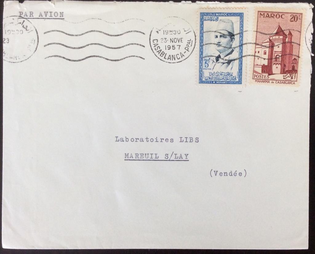 Lettre de 1956 depuis Casablanca pour la France avec affranchissement mixte (5F+20F). Oblitération Mécanique SECAP sans fin, date en lettres