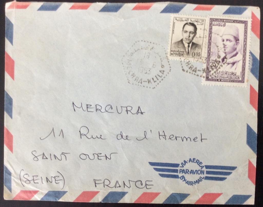 Lettre de 1963 pour la France avec affranchissement composé des 2 séries courantes et mixte en dirham et franc marocain