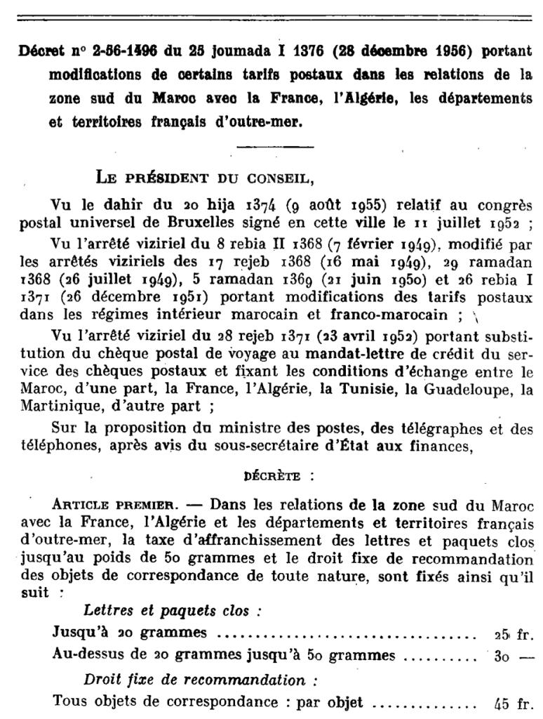 Décret portant modification des tarifs postaux à compter du 1er Janvier 1957