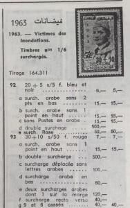Liste des variétés de la série courante surchargée au profit des victimes des innondations (Catalogue Cotter 1983)